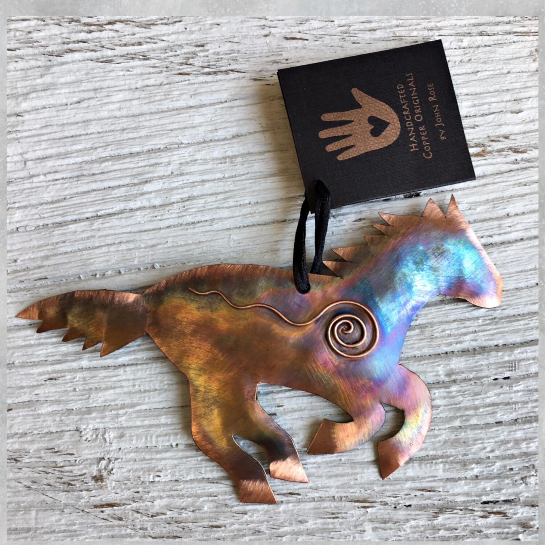 26-16-11 Copper Horse w/ Swirl Ornament $18.50