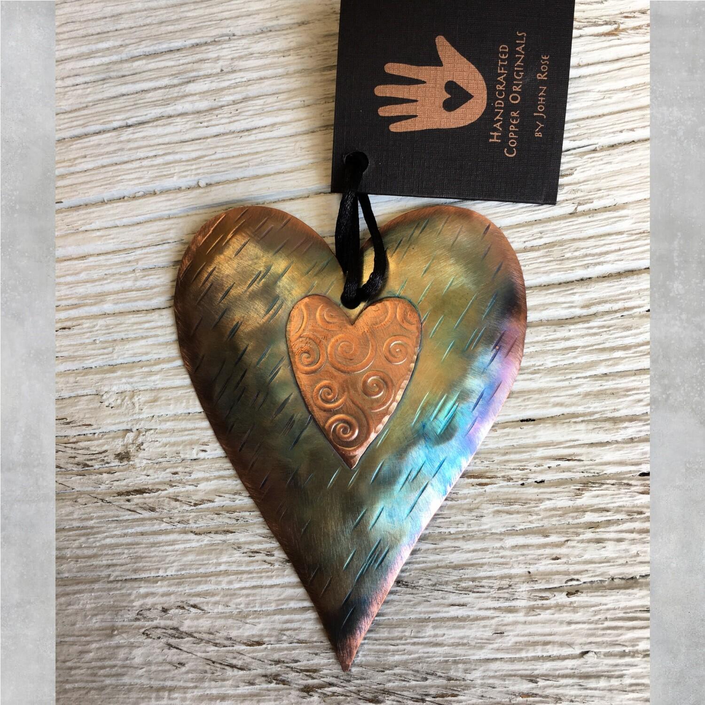 26-16-17 Copper Heart w/ Heart Ornament $18.50