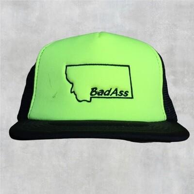Bad Ass Yellow Flat Bill Hat