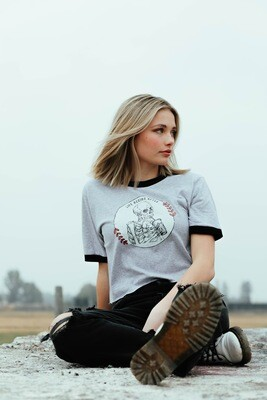 Life Begins After Coffee Ringer Tee Cropped