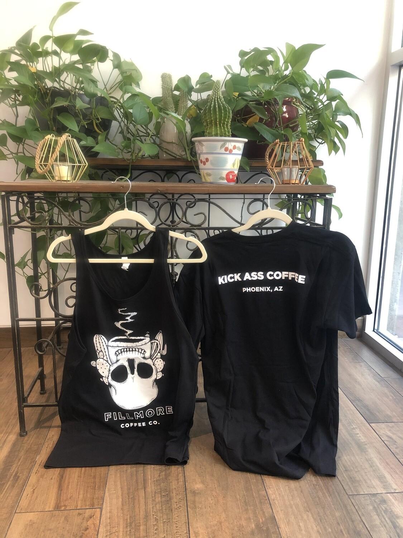 """Kick Ass Coffee"" Tanks and T-shirts (Unisex)"