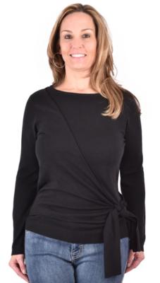 Ethyl Adelina Black Side Tie Sweater