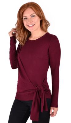Ethyl Adelina Burgundy Side Tie Sweater