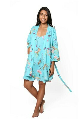La Cera Aqua Floral Robe 100% Cotton