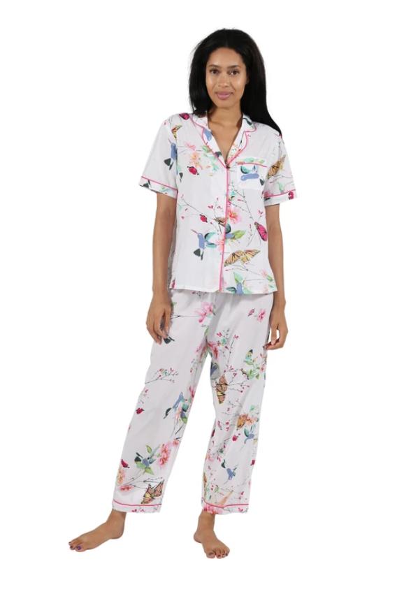 La Cera Short Sleeve Floral Pajama Set 100% Cotton