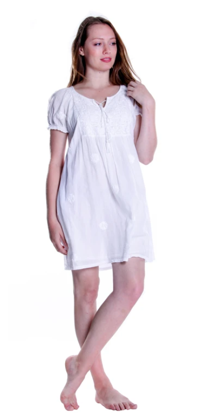 La Cera Short Sleeve Embroidered Chemise 100% Cotton