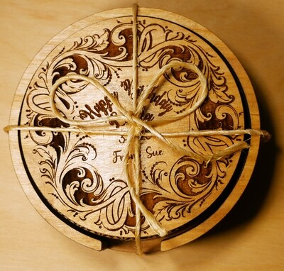Coasters - Intricate Design With Unique Holder - Customization Available