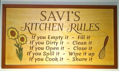Kitchen Rules - Farmhouse Sign - Can be customized