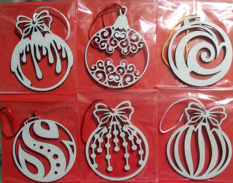 Ornaments - Glittery - 6 Pack