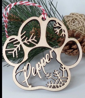 Ornament - Dog Paw - Personalized - Snowflake Ornament