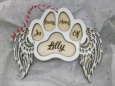 Ornament - Dog Paw, Angel Wings - In Memory