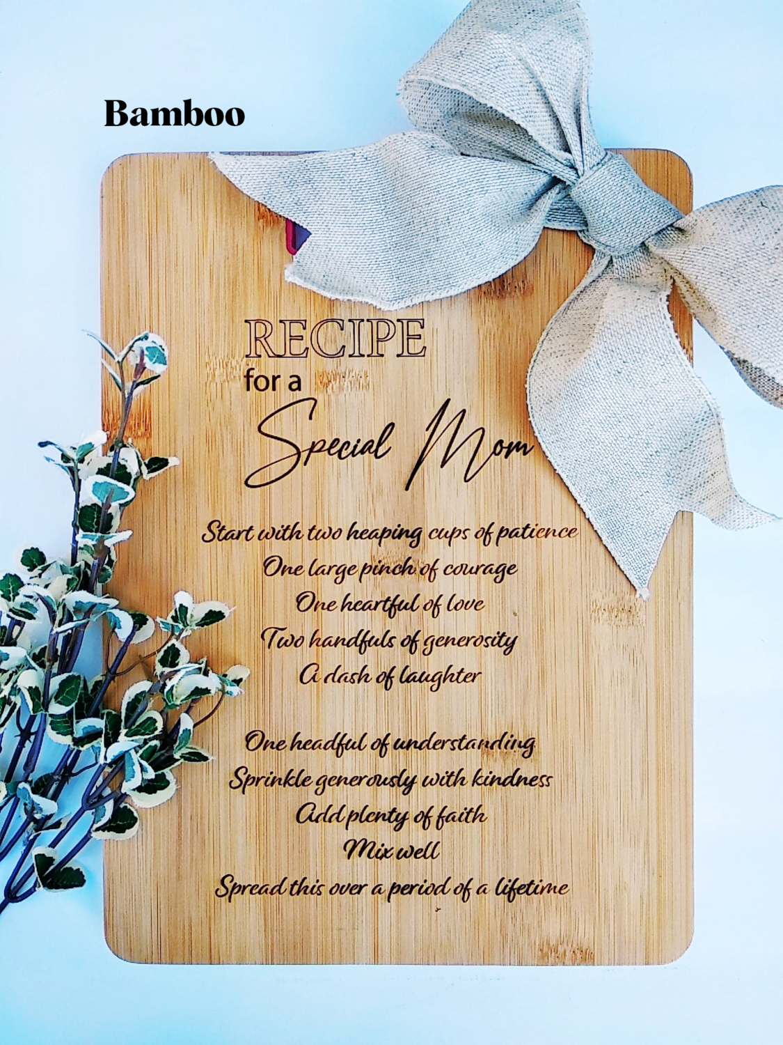 Recipe for a Special Mom Cutting Board, Mother's Day, Mom, Cutting Board, Laser Engraved