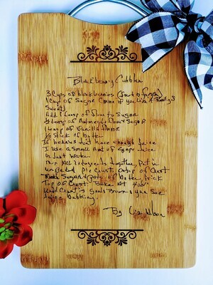 Handwriting Engraved on Wood - Grandma's Recipe