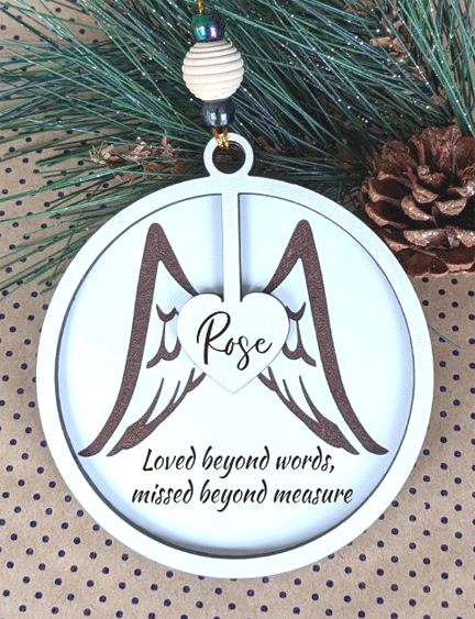 Ornament - Memorial with Angel Wings