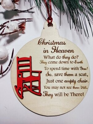 Ornament - Christmas in Heaven (English or Spanish)