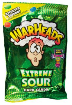 Warheads Extreme Sour Hard Candy Peg Bag