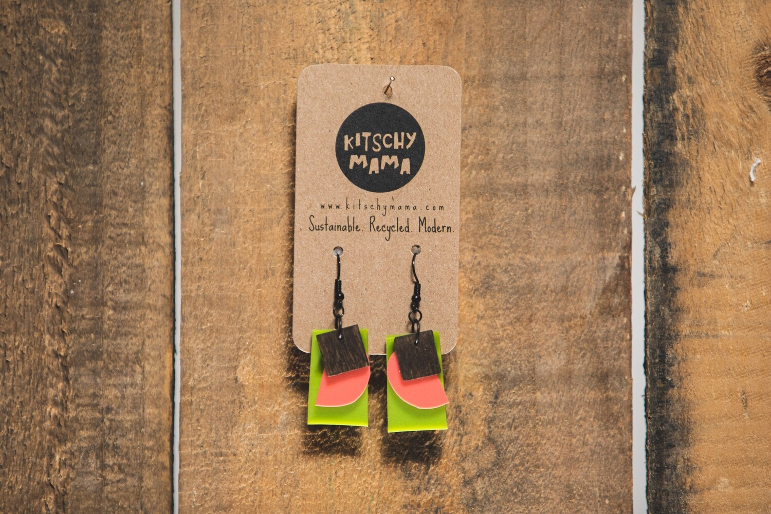 Kitschy Mama Earrings Lime and Pink