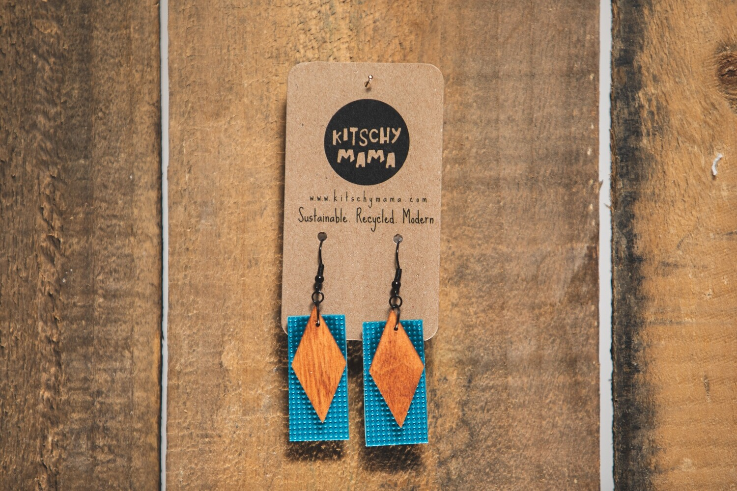 Kitschy Mama Earrings Teal and Pine