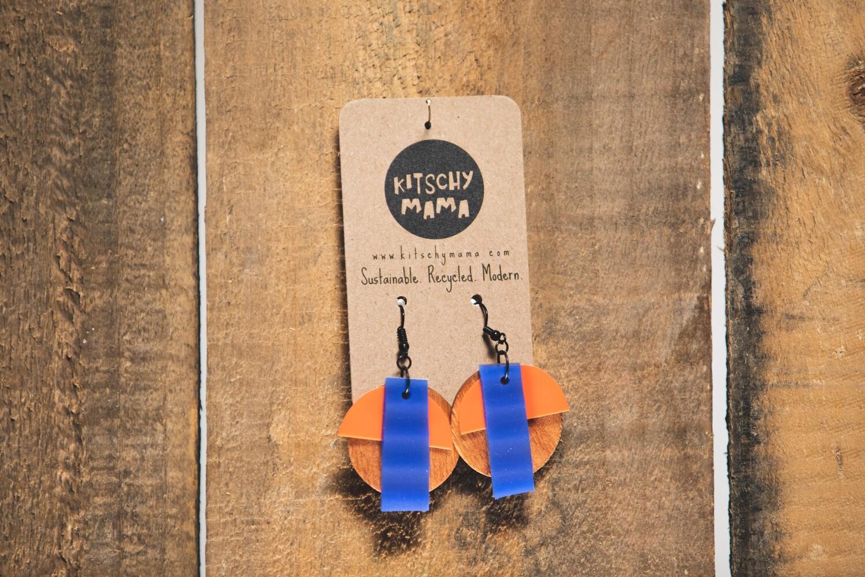 Kitschy Mama Earrings Pine, Orange, and Royal Blue