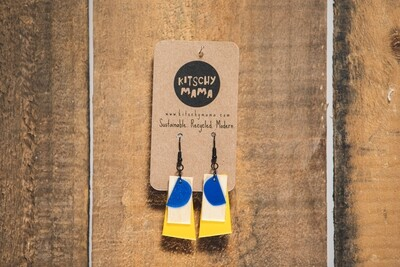 Kitschy Mama Earrings Yellow/White/Royal Blue