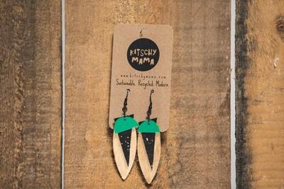 Kitschy Mama Earrings Turq, Black, and Pine