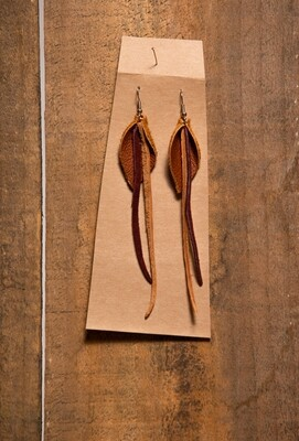 Feather Flies Long Leather Earring