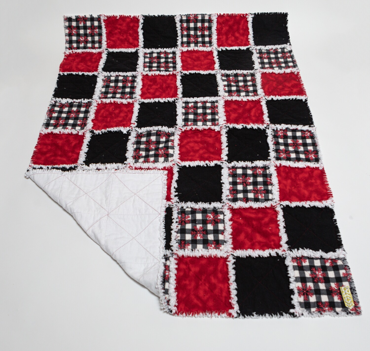 Crib Quilt Red/Black/ White Plaid and Snowflakes