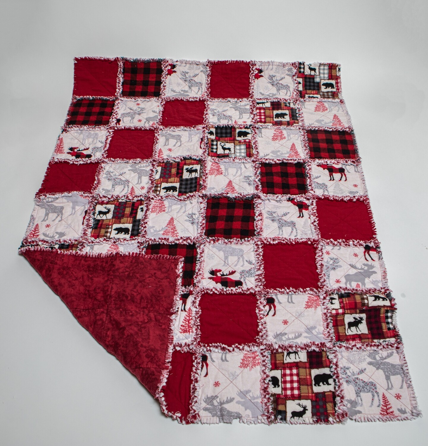 Crib Quilt Red,Black, and White Moose