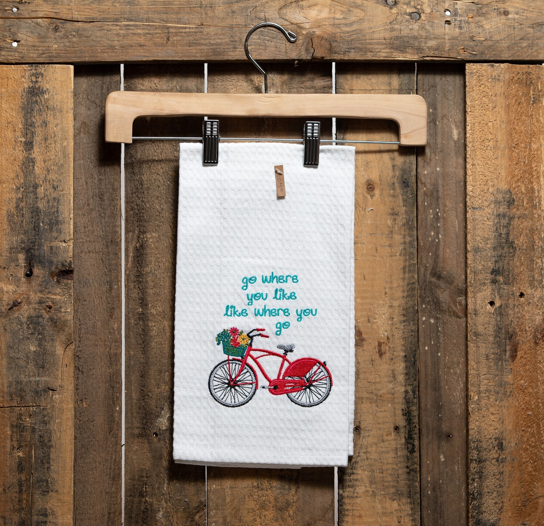 Waffle Tea Towel with Embroidered Bike