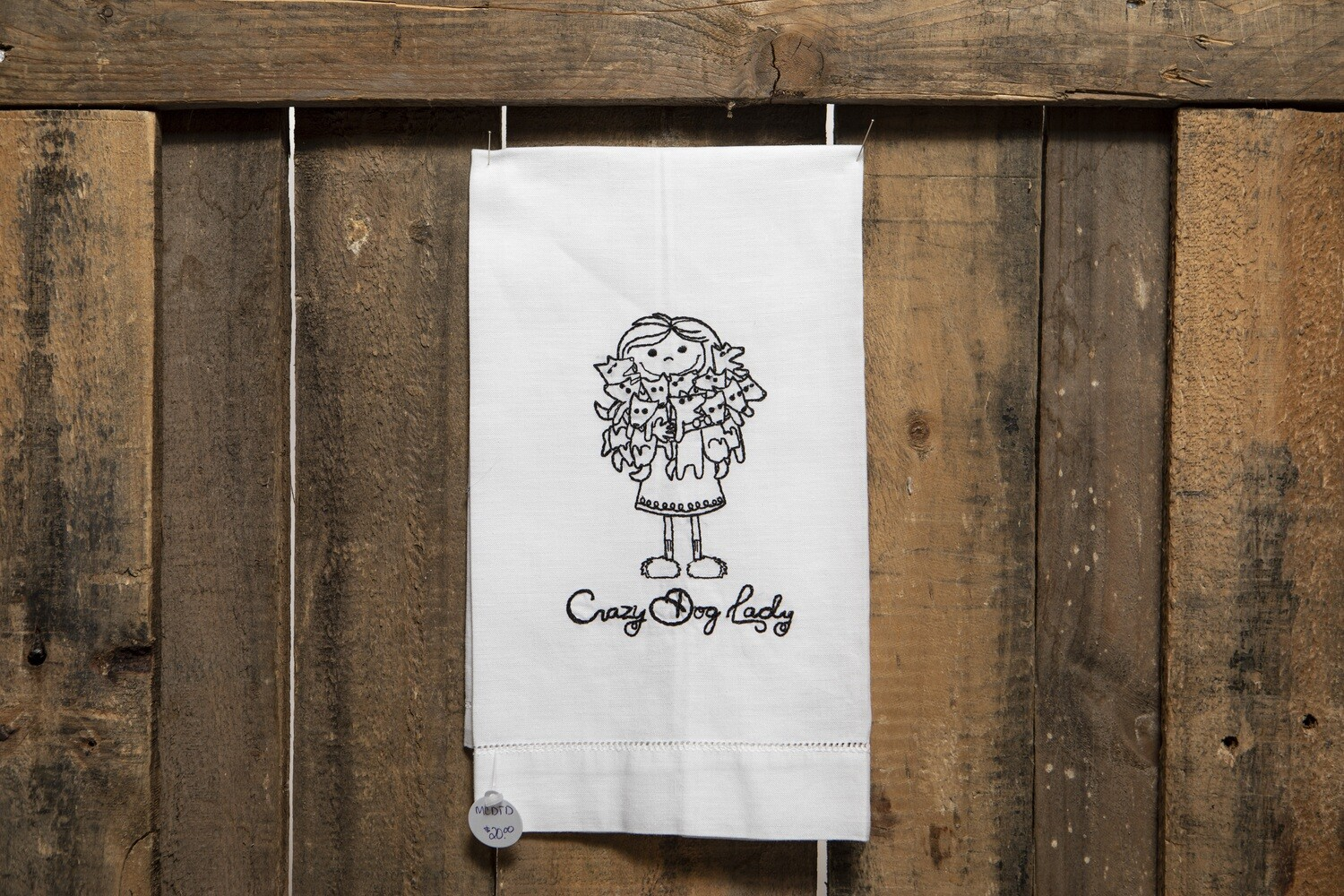 Embroidered Tea Towel - Crazy Dog Lady