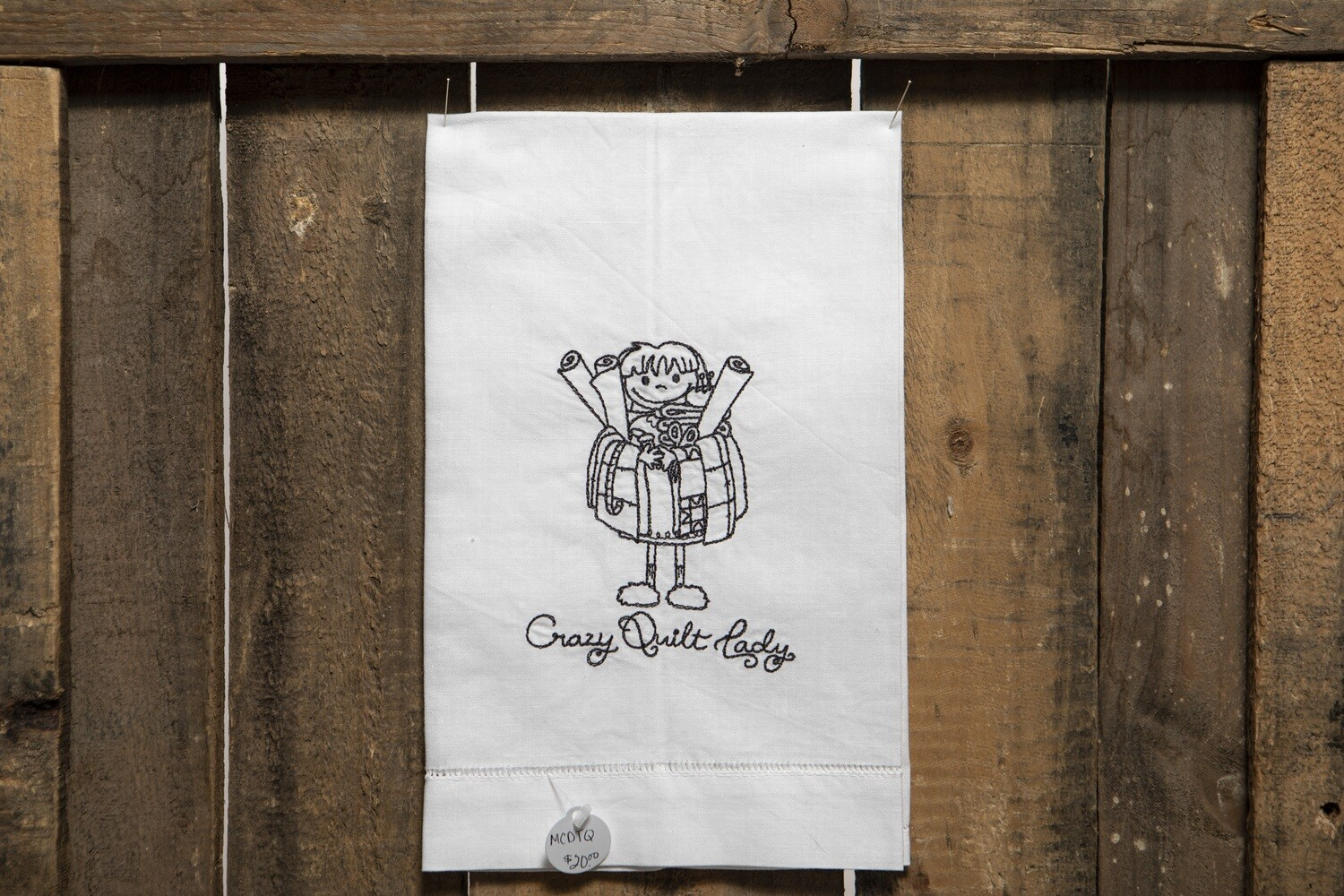 Embroidered Tea Towel - Crazy Quilt Lady
