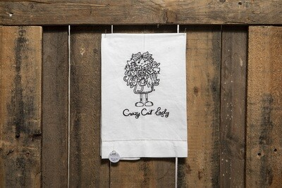 Embroidered Tea Towel- Crazy Cat Lady