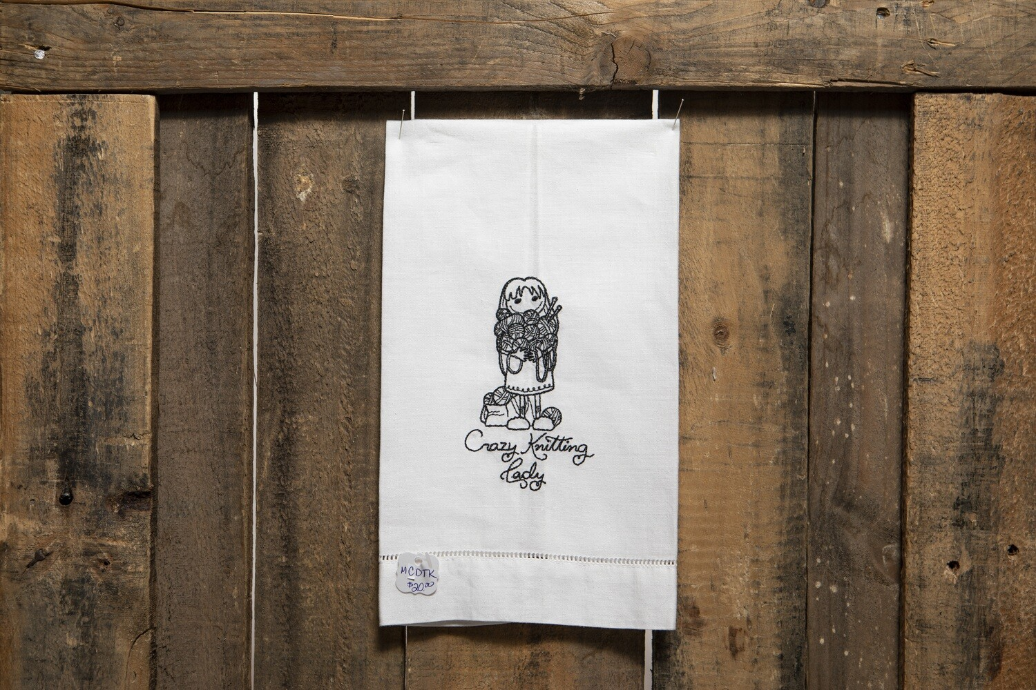 Embroidered Tea Towel - Crazy Knitting Lady