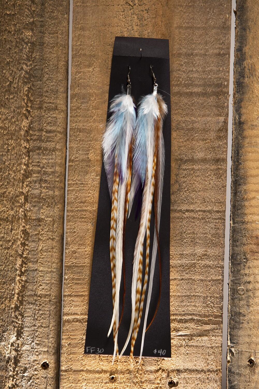 Feather Flies Long Feather Earrings