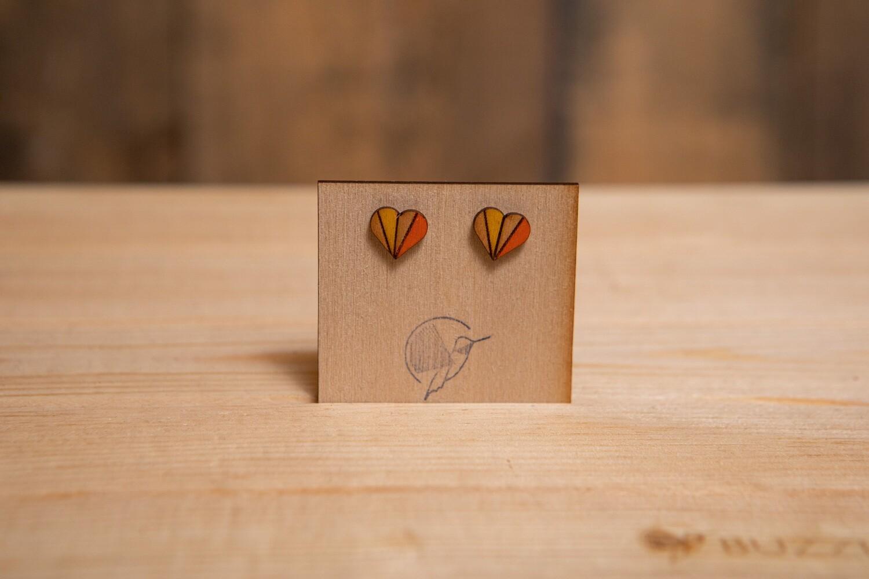 MOWSH Wood Heart Stripe Mustard Orange