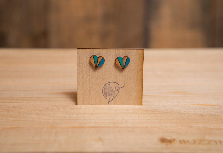 BWSH Wood Heart Stripe Blue