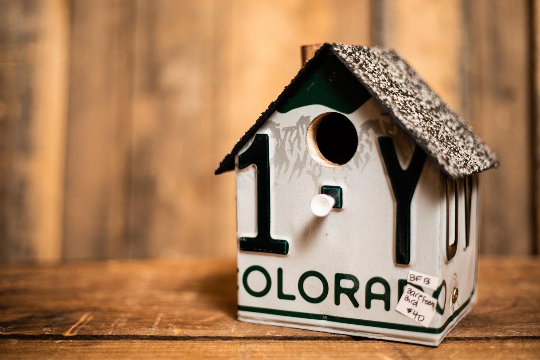 License Plate Bird House- Colorado Plate