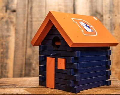 Log Cabin Birdhouse- Broncos