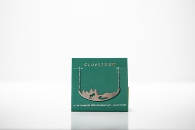 Moose and Stream Stainless Steel Necklace