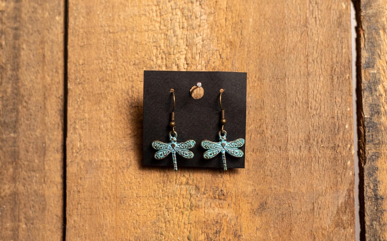 PE1B Dragonfly Verdigris earring