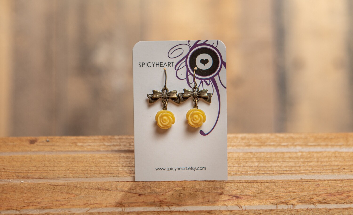 Flowers and Bows Earrings Spicy Heart
