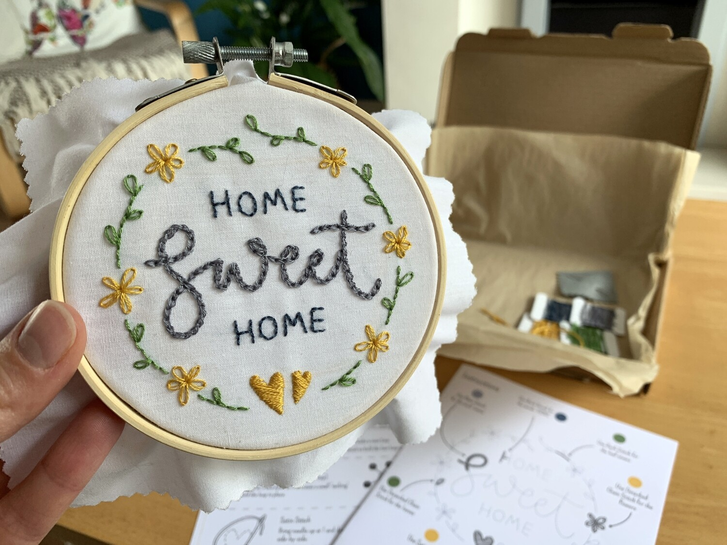 Home Sweet Home embroidery hoop kit by SweetpeaPrintDesign