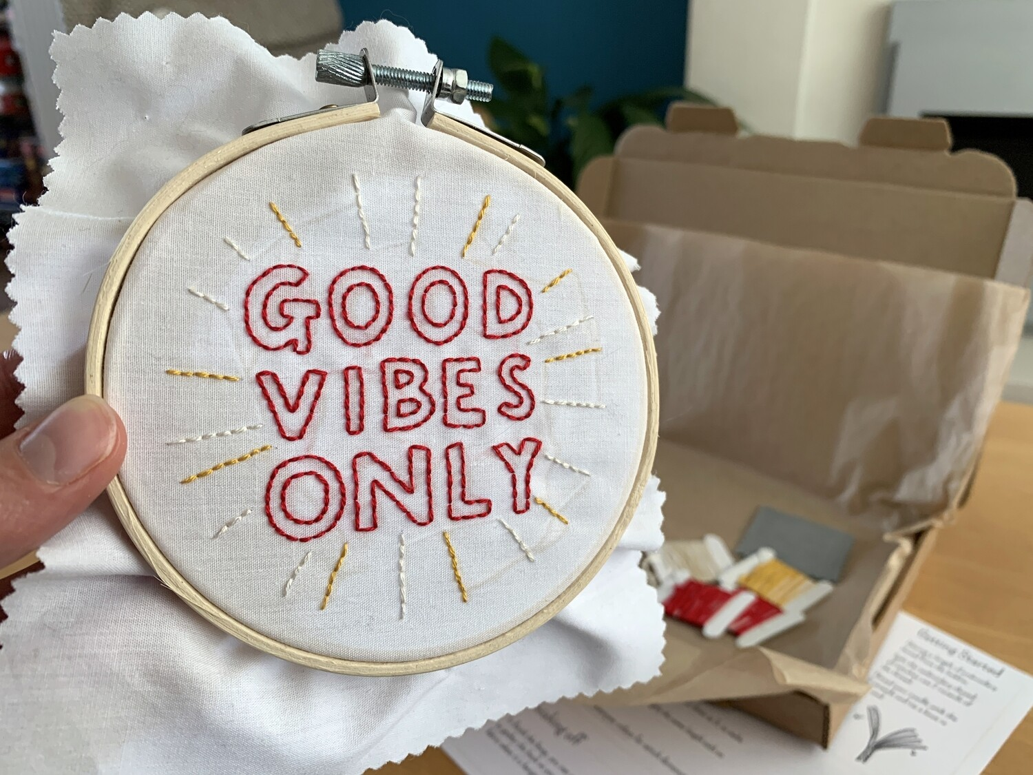 Good Vibes Only hoop by Sweetpea Print Design