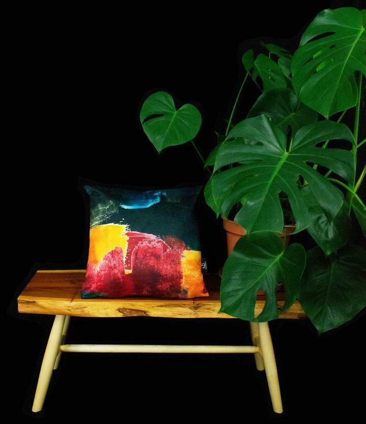 Summer Burst Vegan Suede Cushion by   NARUSEDESIGN