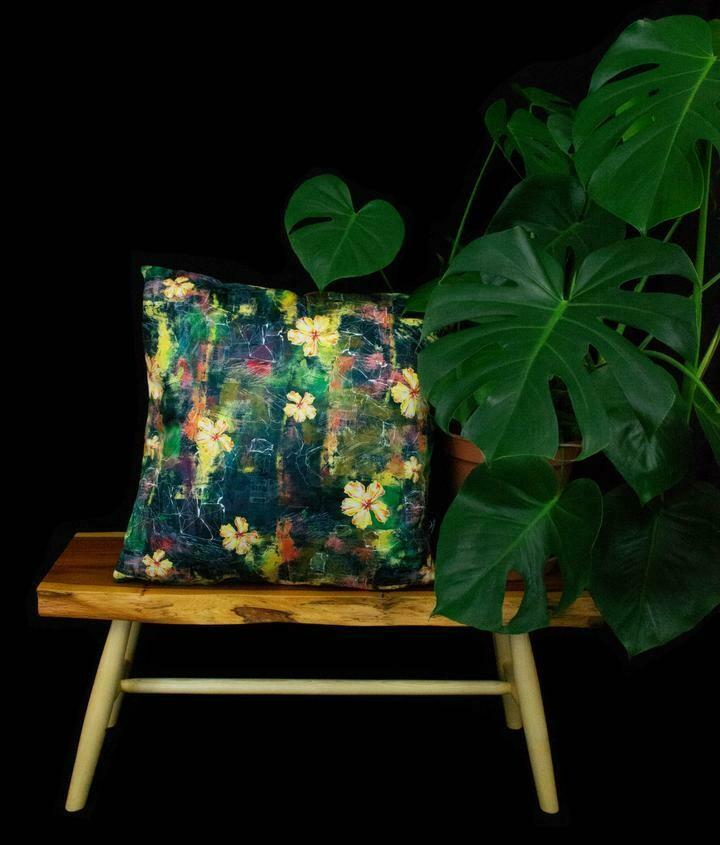 Rock Paper Flower Vegan Suede Cushion by NARUSEDESIGN