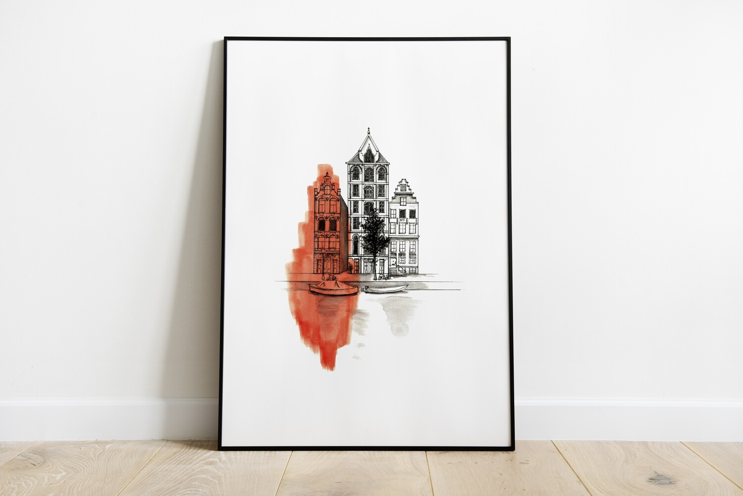 Amsterdam Townhouse Art Print by Brushed Ink