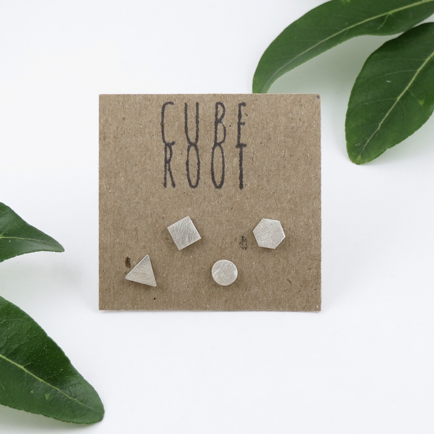 4 Mismatch Silver studs by Cube Root Jewellery