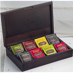 Caja de madera 8 separaciones sostiene 64 sobres de té