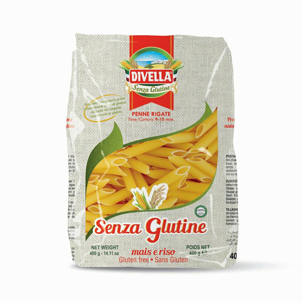 Caja Penne Rigate Deli Free Sin Gluten Divella 400 grm / 12 unidades