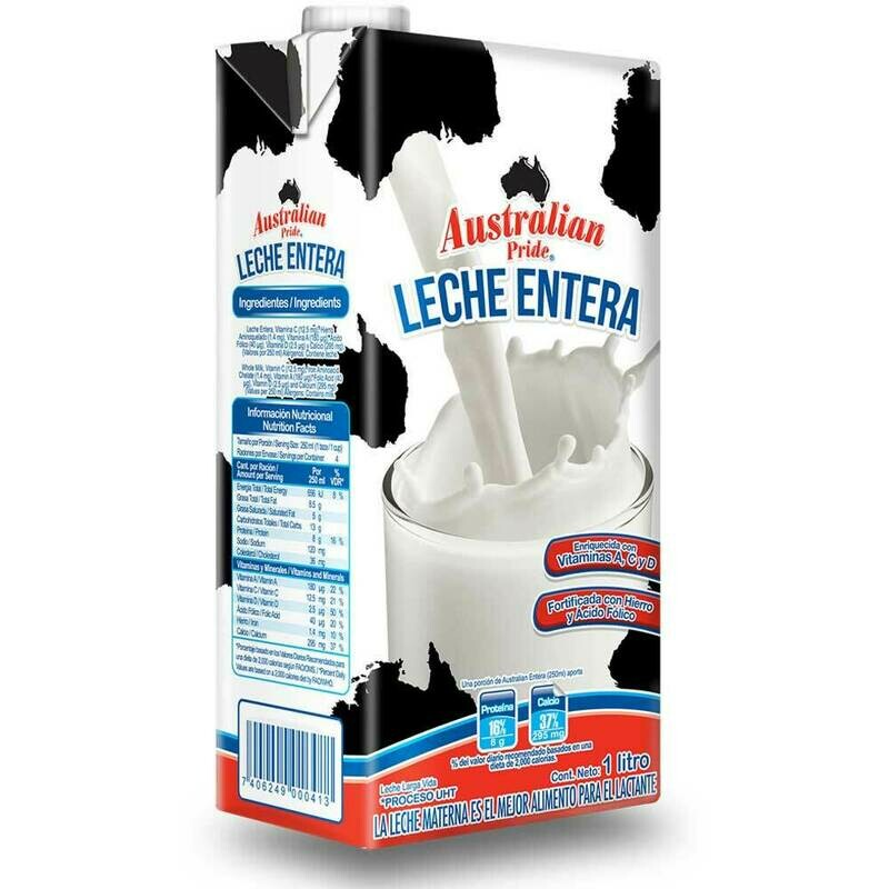 Leche Entera Australian UHT 1lt /6 unidades